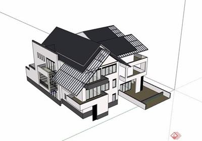 中式详细的整体完整别墅素材设计su模型