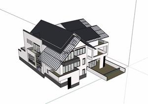 中式详细的整体完整别墅素材设计SU(草图大师)模型