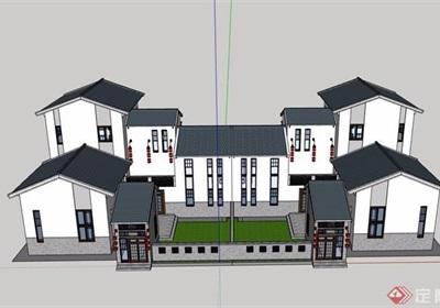 中式详细的完整别墅素材设计su模型