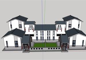 中式详细的完整别墅素材设计SU(草图大师)模型