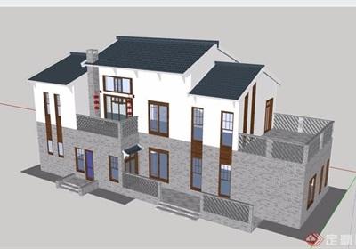 别墅中式多层详细建筑设计su模型