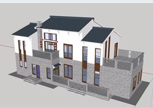 别墅中式多层详细建筑设计SU(草图大师)模型