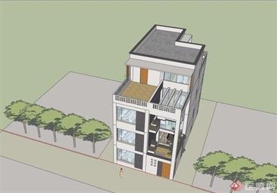 村宅多层详细建筑设计su模型
