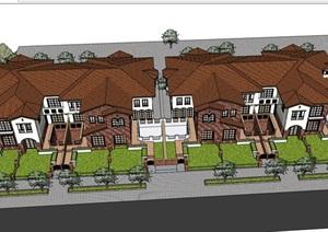 歐式風格詳細小區別墅設計su模型