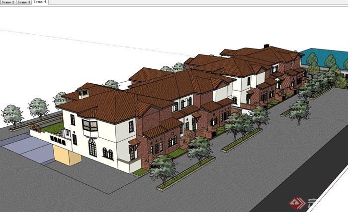欧式风格详细小区别墅设计su模型