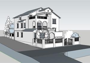 托斯卡纳风格详细多层别墅设计SU(草图大师)模型