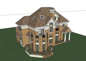 欧式别墅详细多层建筑楼设计SU(草图大师)模型