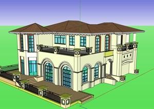 欧式详细两层住宅别墅设计SU(草图大师)模型