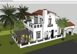 某整体详细的住宅别墅设计SU(草图大师)模型
