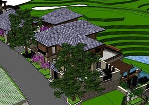 欧式风格详细的多栋山地别墅设计SU(草图大师)模型