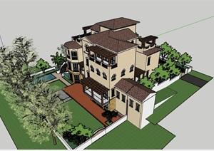 招商别墅详细多层建筑设计SU(草图大师)模型及庭院景观