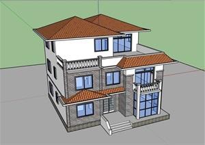 三层乡村别墅住宅建筑设计SU(草图大师)模型