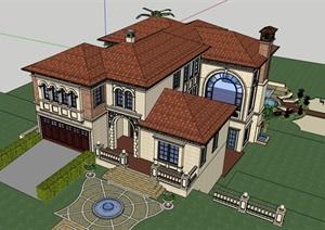西班牙风格别墅详细多层设计SU(草图大师)模型