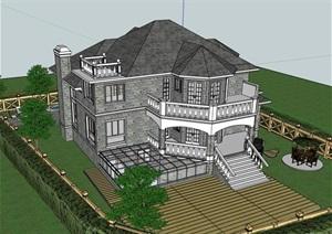详细的经典欧式风格别墅设计SU(草图大师)模型