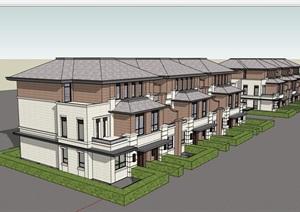 欧式风格详细的经典多层别墅设计SU(草图大师)模型