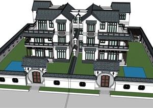 中式大双拼完整多层别墅设计SU(草图大师)模型
