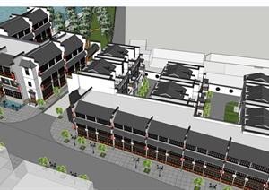 中式徽派鸟瞰酒店建筑设计SU(草图大师)模型