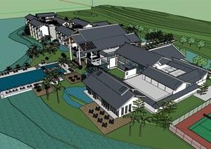 某滨水中式度假酒店建筑设计SU(草图大师)模型