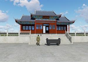一个悬山式寺庙方案SU(草图大师)模型