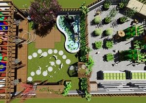 学校楼顶花园生态景观设计SU(草图大师)模型