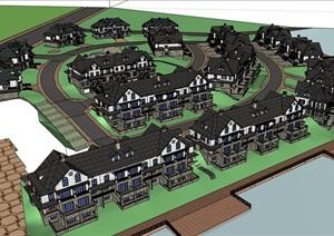 详细的中式完整住宅别墅多栋建筑设计SU(草图大师)模型