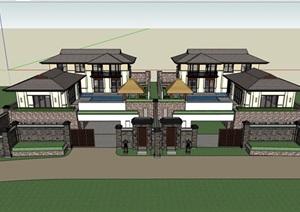新古典风格详细的整体完整住宅别墅设计SU(草图大师)模型