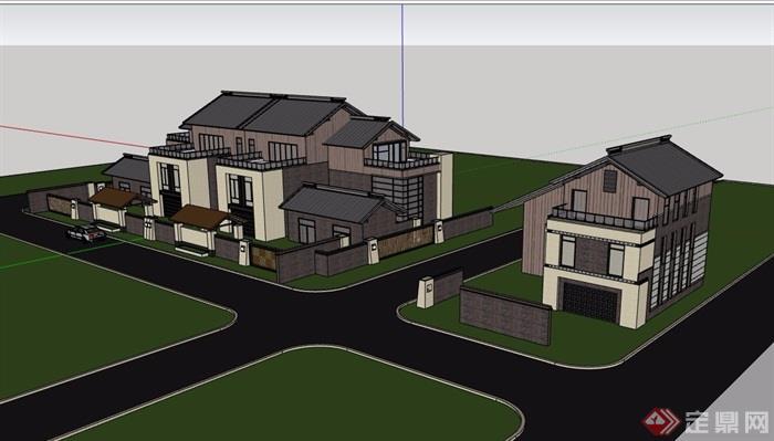 双拼中式风格多层别墅设计su模型