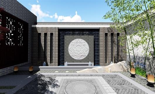 小庭院中式景观设计su模型