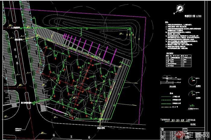 某廣場綠地噴灌設計cad方案圖