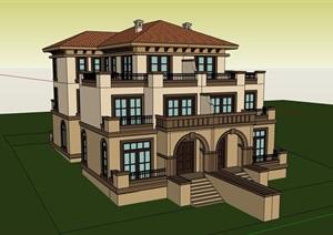 经典别墅欧式详细建筑设计SU(草图大师)模型