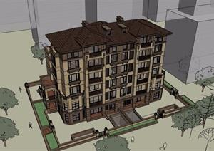 低层欧式风格多层住宅建筑楼设计SU(草图大师)模型