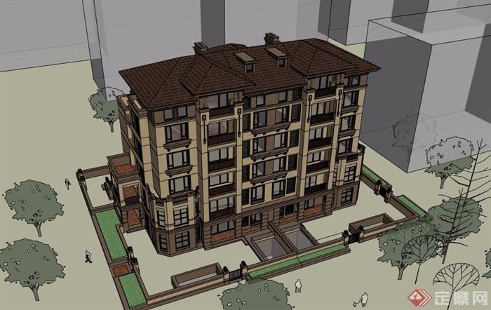 低層歐式風格多層住宅建筑樓設計su模型