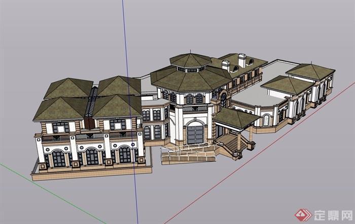 某歐式風格詳細的私人住宅別墅設計su模型