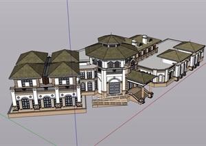 某欧式风格详细的私人住宅别墅设计SU(草图大师)模型