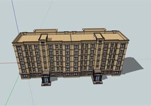 六层详细的经典完整住宅楼设计SU(草图大师)模型