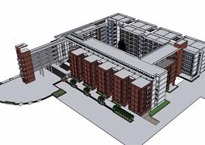 六层详细的学校教育建筑楼设计SU(草图大师)模型