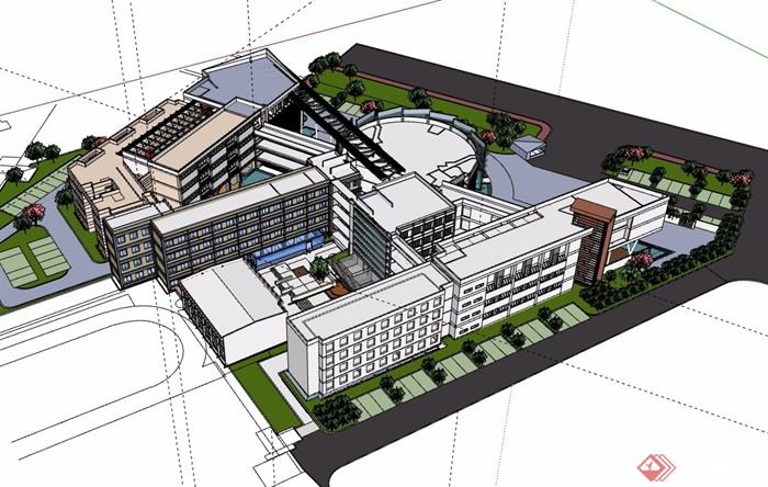 某詳細的多層學校整體建筑樓設計su模型