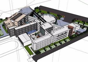 某详细的多层学校整体建筑楼设计SU(草图大师)模型
