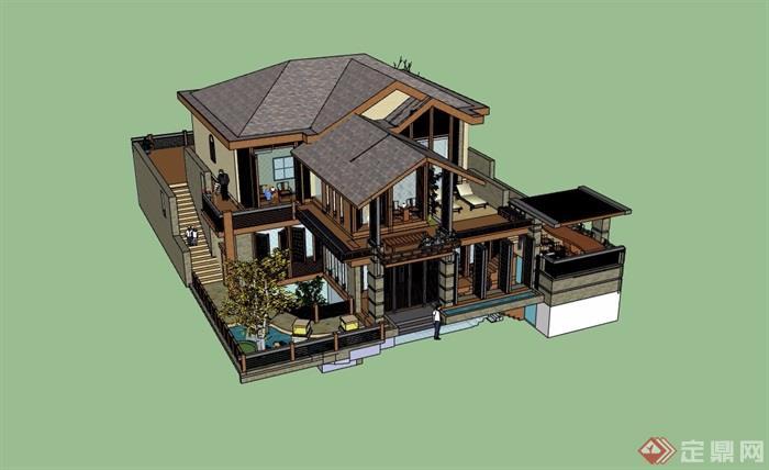 精致詳細的完整別墅設計su模型