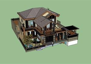 精致详细的完整别墅设计SU(草图大师)模型