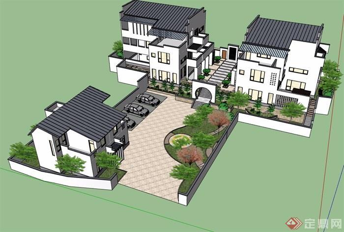 中式详细的经典完整别墅设计su模型图片