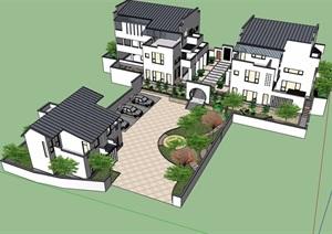 中式详细的经典完整别墅设计SU(草图大师)模型