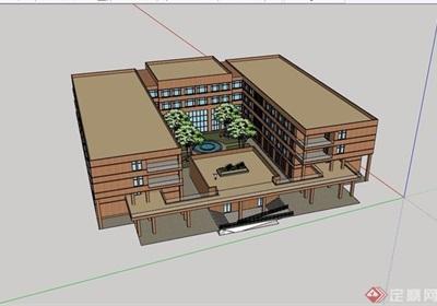 某现代四层详细的教学楼建筑设计su模型