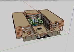某现代四层详细的教学楼建筑设计SU(草图大师)模型