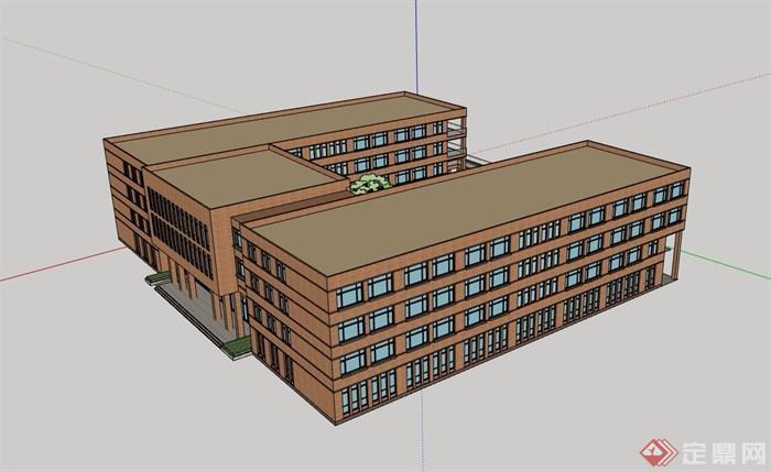 某現代四層詳細的教學樓建筑設計su模型