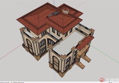 某欧式独栋详细的经典住宅别墅设计su模型