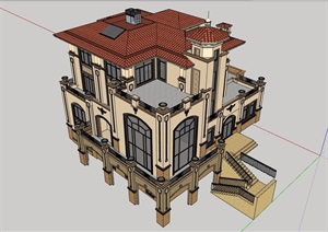 详细的欧式风格住宅独栋别墅设计SU(草图大师)模型