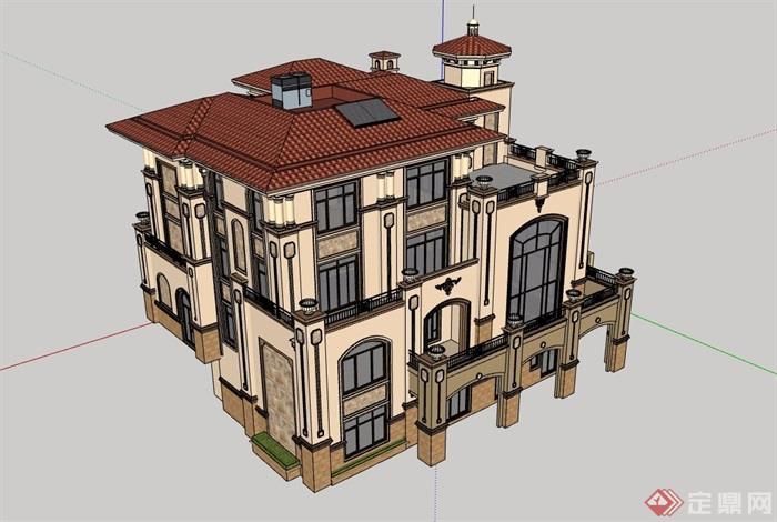 詳細的歐式風格住宅獨棟別墅設計su模型