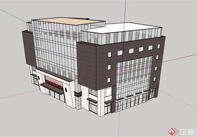 现代多层详细的商业楼建筑su模型