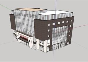 现代多层详细的商业楼建筑SU(草图大师)模型